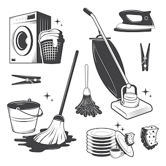 Satz schwarz-weiß-vintage-reinigungswerkzeuge.