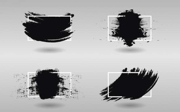 Satz schwarze farbe mit quadratischem rahmen