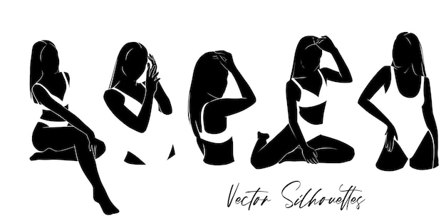 Satz schwarze frauen-silhouetten im badeanzug
