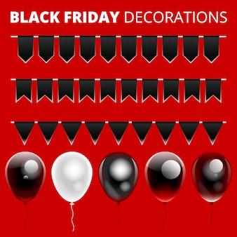 Satz schwarze freitag-dekorationen
