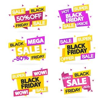 Satz schwarze freitag-verkaufsfahnen mit verschiedenen zeichen wie heißem preis, superverkauf, superangebot und wow.