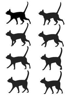 Satz schwarze katzenschattenbildikonensammlung. schwarze katze posiert für gehanimation voreingestellt. illustration auf weißem hintergrund