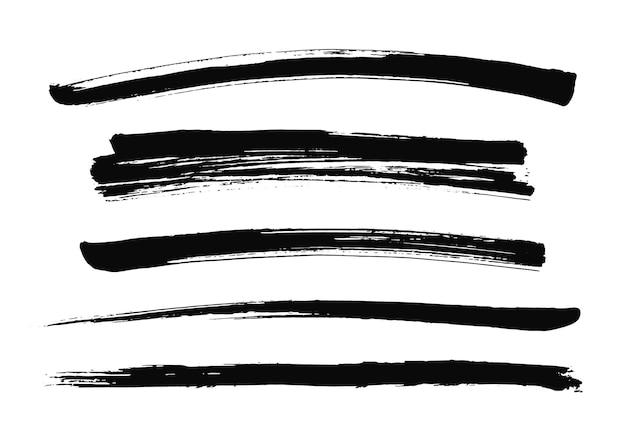 Satz schwarze pinselstriche. vektor-illustration. grunge-textur