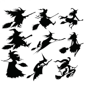 Satz schwarze silhouetten von hexen, die auf einem besen fliegen.