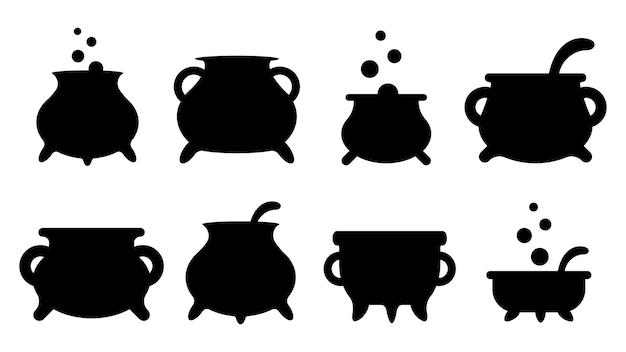 Satz schwarze silhouetten von hexenkesseln mit griffen und zaubertrank. sammlung von artikeln für den feiertag halloween. vektor-illustration.