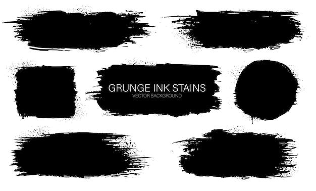 Satz schwarze tintenvektorflecken. schwarze tintenfarbenrahmen für text. tintenpinselstrich. schmutziger künstlerischer designhintergrund für text.
