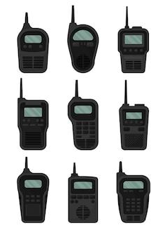 Satz schwarze walkie-talkies mit antenne und bildschirm