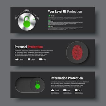 Satz schwarzer banner zum schutz von informationen