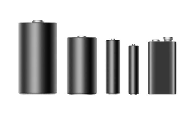 Satz schwarzer glänzender alkalibatterien unterschiedlicher größe aaa, aa, c, d, pp3 und 9-volt-batterie nahaufnahme isoliert