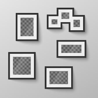Satz schwarzer leerer bilderrahmen mit transparentem platz für foto in verschiedenen proportionen