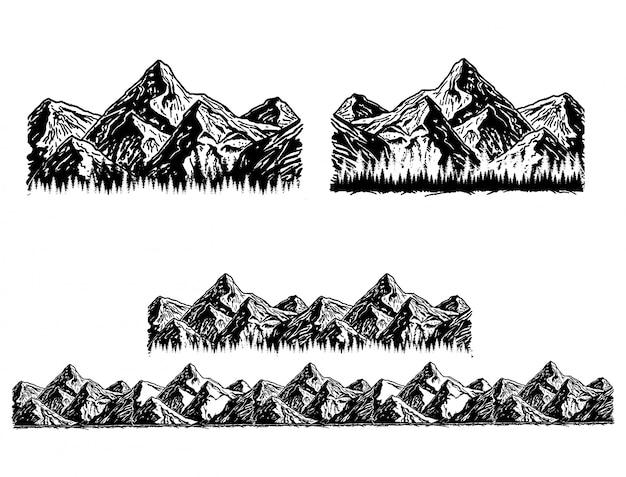 Satz schwarzweiss-berg. silhouetten der berge, des hochlands, der felsigen landschaften, der hügel auf weißem hintergrund. set von outdoor-design-elementen.