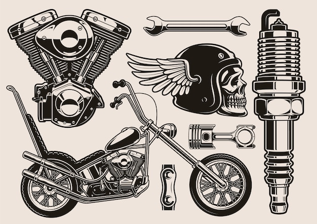 Satz schwarzweiss-illustration für bikerthema
