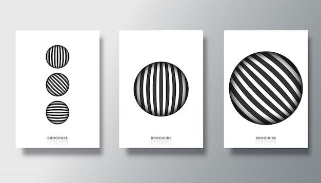 Satz schwarzweiss-karten mit design des gestreiften kreises