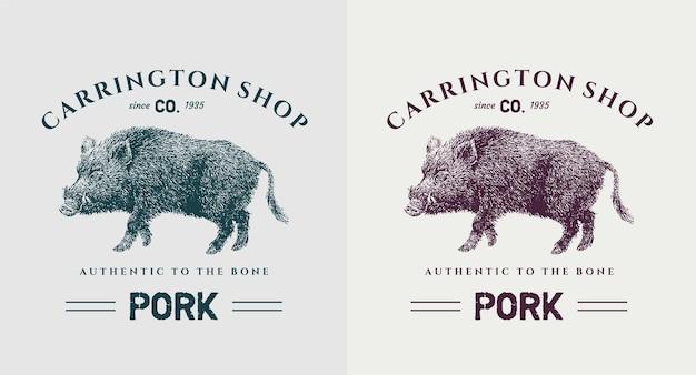Satz schweinefleisch vintage logo