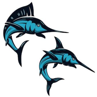 Satz schwertfischikonen auf weißem hintergrund. elemente für emblem, abzeichen, etikett, zeichen. illustration