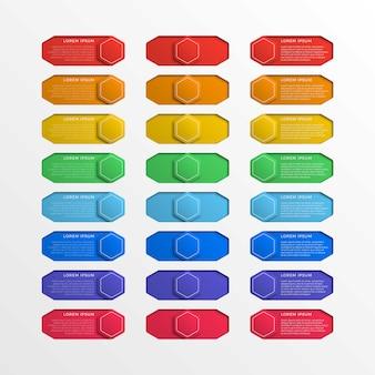 Satz sechseckiger schaltflächen mit mehrfarbiger schalterschnittstelle und textfeldern.