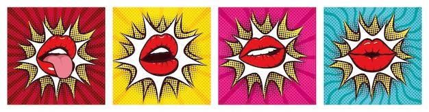 Satz sexy frauenmünder mit spritzen in der pop-arten-art
