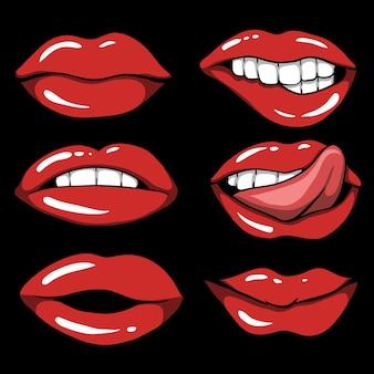 Satz sexy rote lippenkarikaturillustration auf schwarzem hintergrund
