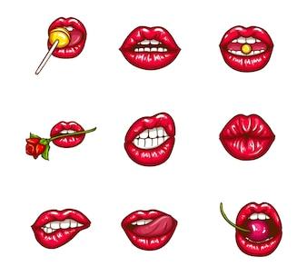 Satz sexy weibliche lippen im roten glatten lippenstift