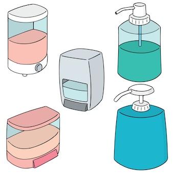 Satz shampoo und flüssigseife flasche