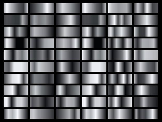 Satz silberfolienbeschaffenheitshintergrund. metallverlaufsschablone.