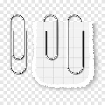Satz silberne metallische realistische büroklammer auf transparentem hintergrund. drei büroklammern mit weichem schatten - vorlage für ihr design