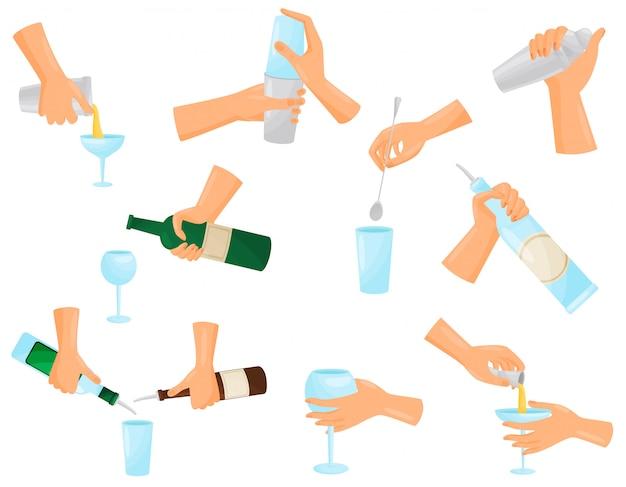 Satz silhouette hände barkeeper, der cocktails mischt. illustration.