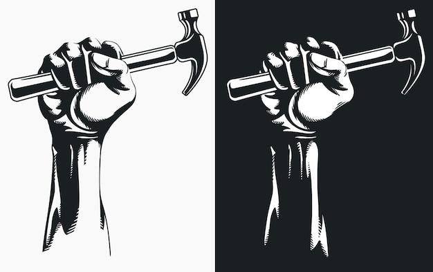 Satz silhouette hand, der hammer hält