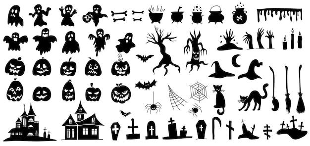 Satz silhouetten von halloween-doodle-stil-vektor auf weißem hintergrund.