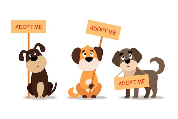 Satz sitzender und stehender hunde mit einem plakat adoptiere mich. kaufen sie nicht - helfen sie den obdachlosen tieren, ein zuhause zu finden, ein set trauriger welpen - illustration