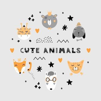 Satz skandinavische niedliche tiere. fuchs, wolf, bär, giraffe, hund, katze.