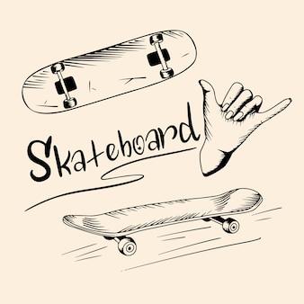Satz skateboard und schriftzug. strichzeichnungen stil