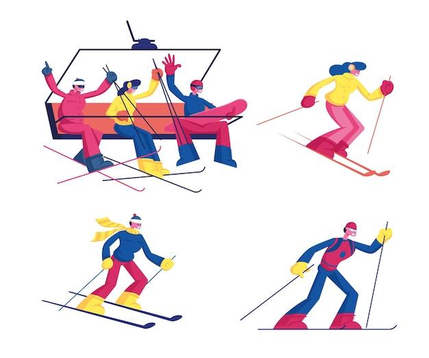 Satz ski-wintersportaktivität lokalisiert auf weißem hintergrund. karikatur flache illustration