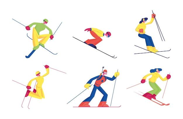 Satz skisportaktivität lokalisiert auf weißem hintergrund. karikatur flache illustration