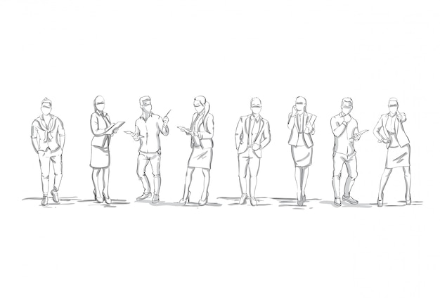 Satz skizzen-schattenbilder von wirtschaftler-zahlen geschäftsfrauen und geschäftsmänner in voller länge auf weißem hintergrund