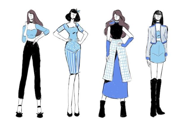 Satz skizzen von schönen und vielfältigen weiblichen mode-outfits.