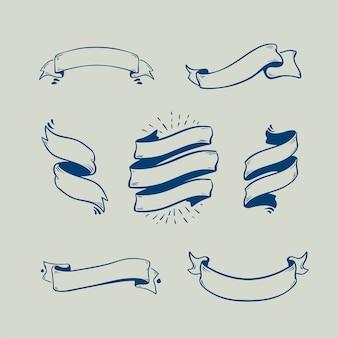 Satz skizzengekritzel-bandfahnen, handdrawn bänder