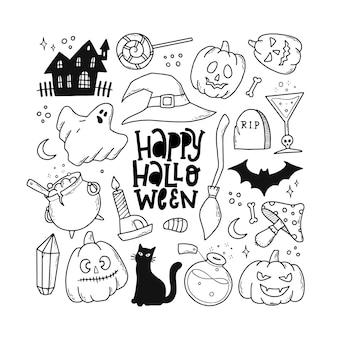 Satz skizzierte halloween-doodles