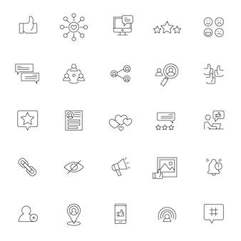 Satz social media-ikonen mit einfachem entwurf
