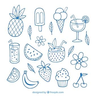 Satz sommerelemente mit gezeichneten art der früchte und der getränke in der hand