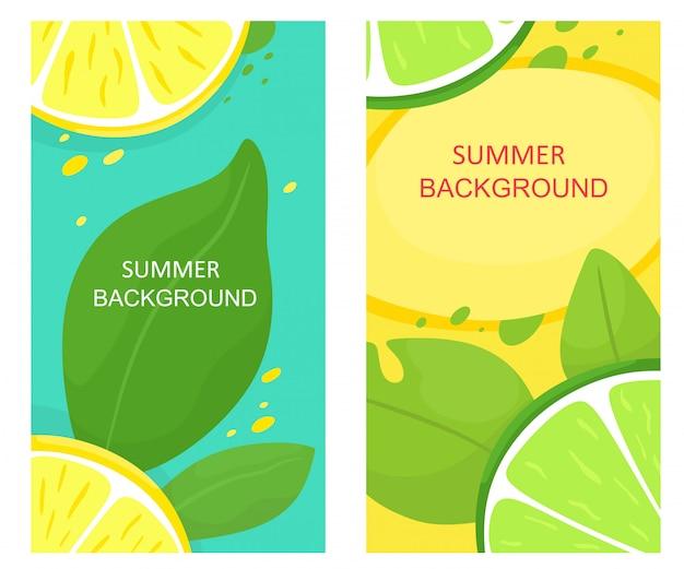 Satz sommerhintergründe mit früchten