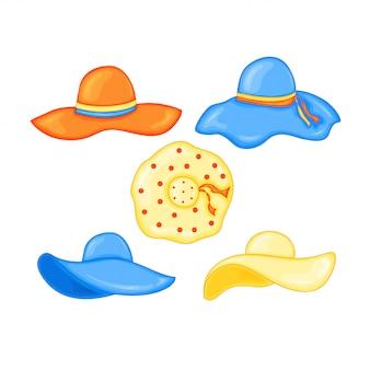 Satz sommerhüte für den strand in der netten karikaturart. vektor-illustration isoliert
