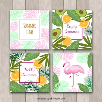 Satz sommerkarten mit pflanzen und fruchtmuster
