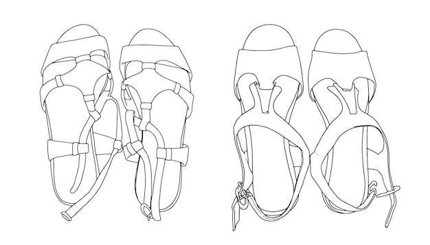 Satz sommerschuhe sandalen schuhe lineares skizzengekritzel