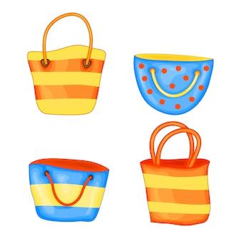 Satz sommerstrandtaschen in der netten karikaturart. vektor-illustration isoliert