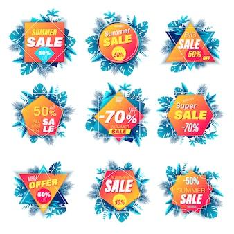 Satz sommerverkaufsbanner 3d stil. für online-einkäufe und -läden, poster, newsletter, anzeigen und banner in sozialen medien, website-abzeichen, marketingmaterial, etiketten und aufkleber. illustration.