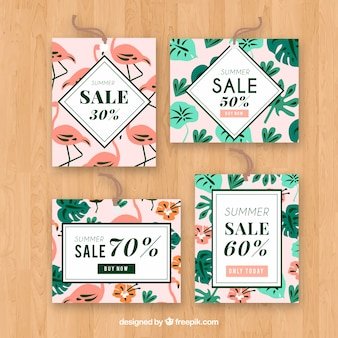 Satz sommerverkaufskarten mit anlagen und flamingos