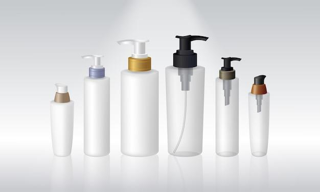 Satz spenderflasche lokalisiert auf weißem hintergrund, produktverpackung