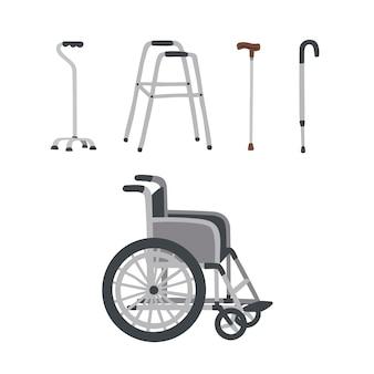 Satz spezieller medizinischer rehabilitationshilfsmittel für ältere menschen