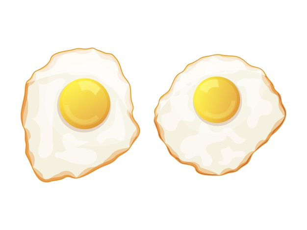 Satz spiegeleier auf einem weißen hintergrund. leckeres frühstück. isoliertes objekt auf weißem hintergrund. cartoon-stil. objekt für verpackung, werbung, menü. vektorillustration.